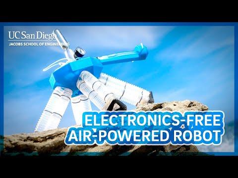 Electronics free, air-powered robot